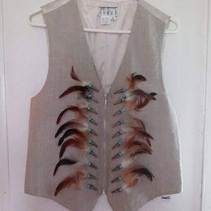 Ann Tjian for KENAR feathered vest
